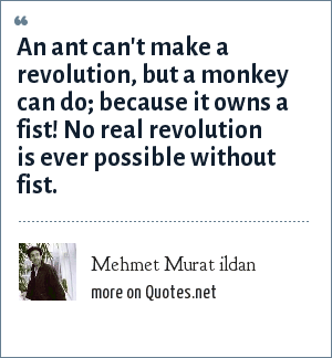 Mehmet Murat ildan: An ant can't make a revolution, but a monkey can do; because it owns a fist! No real revolution is ever possible without fist.