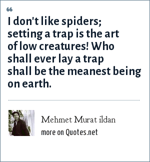 Mehmet Murat ildan: I don't like spiders; setting a trap is the art of low creatures! Who shall ever lay a trap shall be the meanest being on earth.