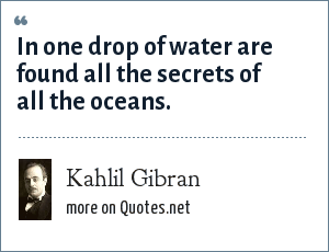 Kahlil Gibran: In one drop of water are found all the secrets of all the oceans.