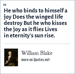 William Blake: He who binds to himself a joy Does the winged life destroy But he who kisses the joy as it flies Lives in eternity's sun rise.