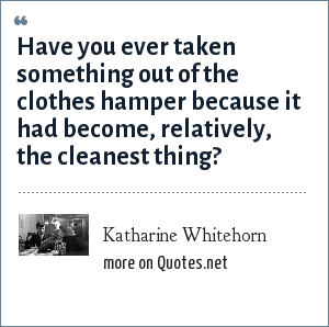 Katharine Whitehorn: Have you ever taken something out of the clothes hamper because it had become, relatively, the cleanest thing?