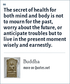 Buddha: The secret of health for both mind and body is not to mourn for the past, worry about the future, or anticipate troubles but to live in the present moment wisely and earnestly.