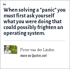 Peter van der Linden: When solving a