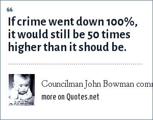 Councilman John Bowman commenting on the high crime in Washington: If crime went down 100%, it would still be 50 times higher than it shoud be.