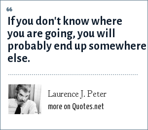 Laurence J. Peter: If you don't know where you are going, you will probably end up somewhere else.