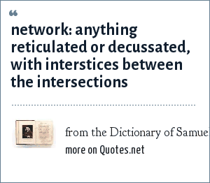 from the Dictionary of Samuel Johnson: network: anything reticulated or decussated, with interstices between the intersections
