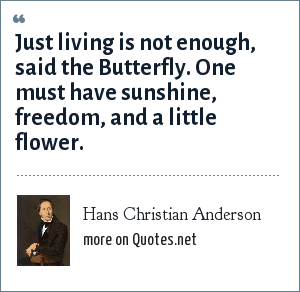 Hans Christian Anderson: Just living is not enough, said the Butterfly. One must have sunshine, freedom, and a little flower.