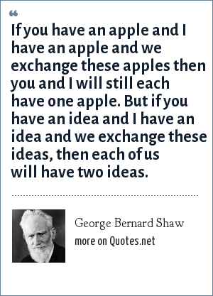 George Bernard Shaw: If you have an apple and I have an apple and we exchange these apples then you and I will still each have one apple. But if you have an idea and I have an idea and we exchange these ideas, then each of us will have two ideas.