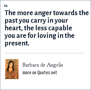 Barbara de Angelis: The more anger towards the past you carry in your heart, the less capable you are for loving in the present.