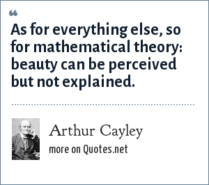 Arthur Cayley: As for everything else, so for mathematical theory: beauty can be perceived but not explained.