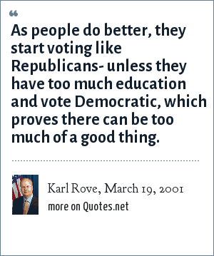 Karl Rove, March 19, 2001: As people do better, they start voting like Republicans- unless they have too much education and vote Democratic, which proves there can be too much of a good thing.