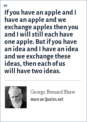 George Bernard Shaw: If you have an apple and I have an apple and we exchange apples then you and I will still each have one apple. But if you have an idea and I have an idea and we exchange these ideas, then each of us will have two ideas.