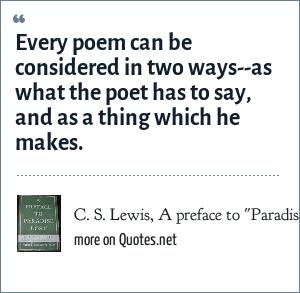 C. S. Lewis, A preface to