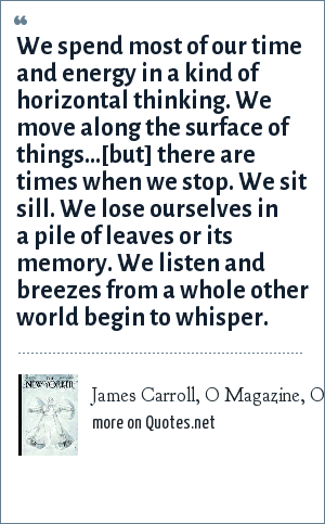 James Carroll, O Magazine, October 2002: We spend most of our time and energy in a kind of horizontal thinking. We move along the surface of things…[but] there are times when we stop. We sit sill. We lose ourselves in a pile of leaves or its memory. We listen and breezes from a whole other world begin to whisper.