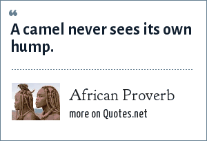 African Proverb: A camel never sees its own hump.