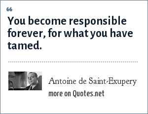 Antoine de Saint-Exupery: You become responsible forever, for what you have tamed.