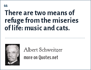 Albert Schweitzer: There are two means of refuge from the miseries of life: music and cats.