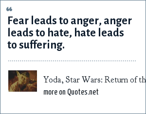 Yoda, Star Wars: Return of the Jedi: Fear leads to anger, anger leads to hate, hate leads to suffering.