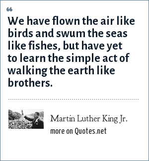 Martin Luther King Jr.: We have flown the air like birds and swum the seas like fishes, but have yet to learn the simple act of walking the earth like brothers.