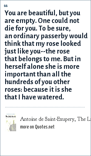 Antoine De SaintExupery The Little Prince You Are Beautiful But Classy Little Prince Love Quotes
