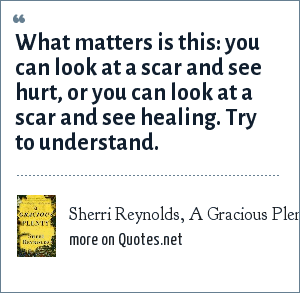 Sherri Reynolds, A Gracious Plenty: What matters is this: you can look at a scar and see hurt, or you can look at a scar and see healing. Try to understand.