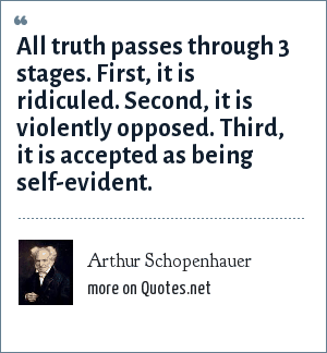 Arthur Schopenhauer: All truth passes through 3 stages. First, it is ridiculed. Second, it is violently opposed. Third, it is accepted as being self-evident.