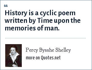 Percy Bysshe Shelley: History is a cyclic poem written by Time upon the memories of man.