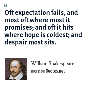 William Shakespeare: Oft expectation fails, and most oft where most it promises; and oft it hits where hope is coldest; and despair most sits.