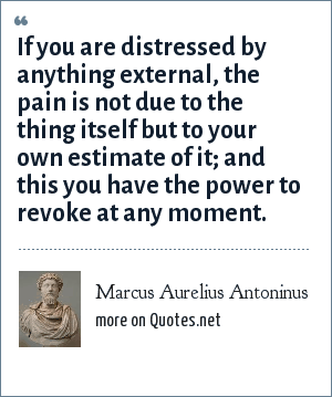 Marcus Aurelius Antoninus: If you are distressed by anything external, the pain is not due to the thing itself but to your own estimate of it; and this you have the power to revoke at any moment.