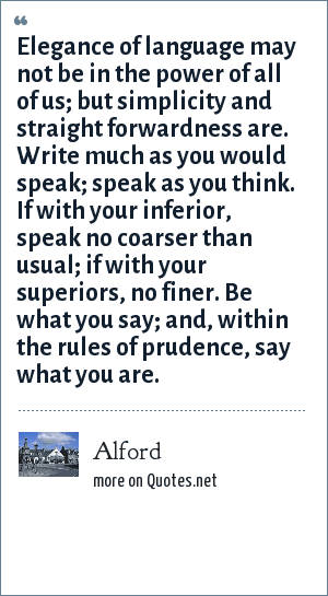 Alford Elegance Of Language May Not Be In The Power Of All Of Us