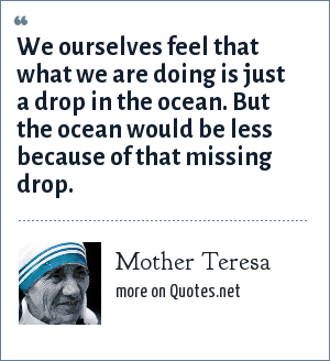 Mother Teresa: We ourselves feel that what we are doing is just a drop in the ocean. But the ocean would be less because of that missing drop.
