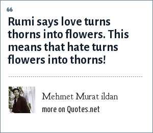 Mehmet Murat ildan: Rumi says love turns thorns into flowers. This means that hate turns flowers into thorns!