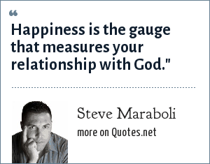 Steve Maraboli: Happiness is the gauge that measures your relationship with God.