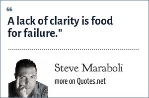 Steve Maraboli: A lack of clarity is food for failure.