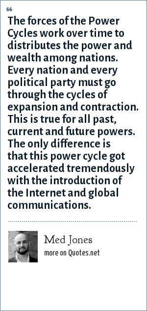 Med Jones: The forces of the Power Cycles work over time to distributes the power and wealth among nations. Every nation and every political party must go through the cycles of expansion and contraction. This is true for all past, current and future powers. The only difference is that this power cycle got accelerated tremendously with the introduction of the Internet and global communications.