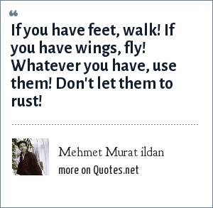 Mehmet Murat ildan: If you have feet, walk! If you have wings, fly! Whatever you have, use them! Don't let them to rust!