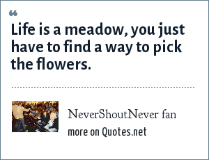 NeverShoutNever fan: Life is a meadow, you just have to find a way to pick the flowers.