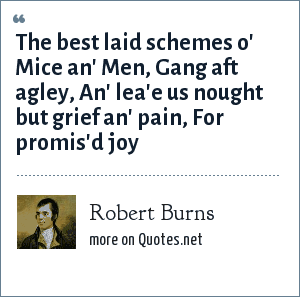 Robert Burns: The best laid schemes o' Mice an' Men, Gang aft agley, An' lea'e us nought but grief an' pain, For promis'd joy