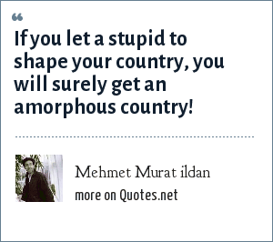 Mehmet Murat ildan: If you let a stupid to shape your country, you will surely get an amorphous country!