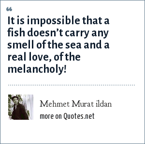 Mehmet Murat ildan: It is impossible that a fish doesn't carry any smell of the sea and a real love, of the melancholy!