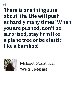 Mehmet Murat ildan: There is one thing sure about life: Life will push us hardly many times! When you are pushed, don't be surprised; stay firm like a plane tree or be elastic like a bamboo!