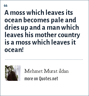 Mehmet Murat ildan: A moss which leaves its ocean becomes pale and dries up and a man which leaves his mother country is a moss which leaves it ocean!