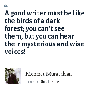 Mehmet Murat ildan: A good writer must be like the birds of a dark forest; you can't see them, but you can hear their mysterious and wise voices!