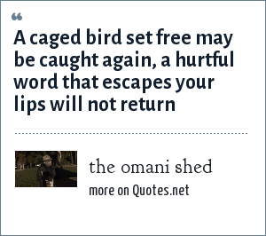 the omani shed: A caged bird set free may be caught again, a hurtful word that escapes your lips will not return