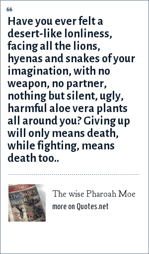 The wise Pharoah Moe: Have you ever felt a desert-like lonliness, facing all the lions, hyenas and snakes of your imagination, with no weapon, no partner, nothing but silent, ugly, harmful aloe vera plants all around you? Giving up will only means death, while fighting, means death too..