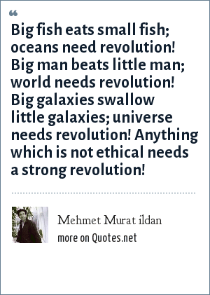 Mehmet Murat ildan: Big fish eats small fish; oceans need revolution! Big man beats little man; world needs revolution! Big galaxies swallow little galaxies; universe needs revolution! Anything which is not ethical needs a strong revolution!