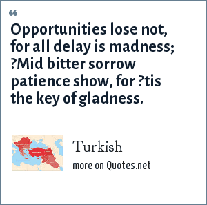 Turkish: Opportunities lose not, for all delay is madness; ?Mid bitter sorrow patience show, for ?tis the key of gladness.
