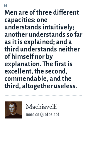 Machiavelli: Men are of three different capacities: one understands intuitively; another understands so far as it is explained; and a third understands neither of himself nor by explanation. The first is excellent, the second, commendable, and the third, altogether useless.