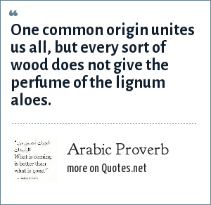 Arabic Proverb: One common origin unites us all, but every sort of wood does not give the perfume of the lignum aloes.
