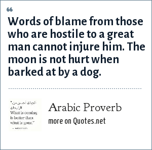 Arabic Proverb: Words of blame from those who are hostile to a great man cannot injure him. The moon is not hurt when barked at by a dog.